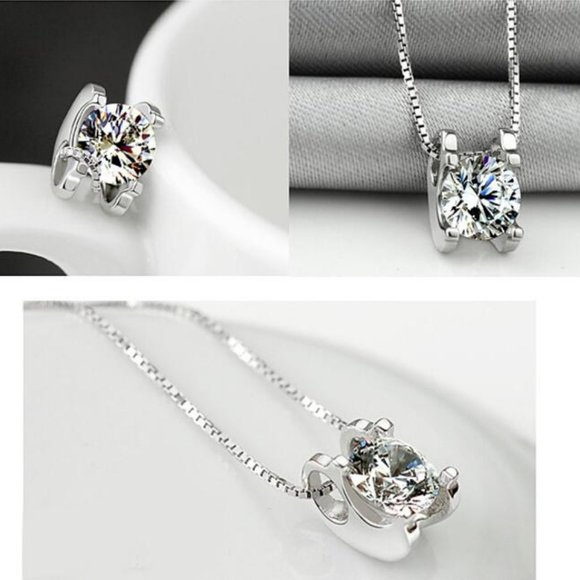 NEW 925 Sterling Silver Solitaire Diamond Necklace